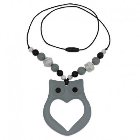 Silikonový náhrdelník šedá sova s korálky