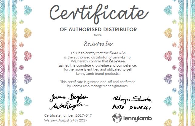 Certifikát autorizovaného prodejce LennyLamb